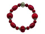 Sterling Silver Antiqued Beads and Red Coral Stretch Bracelet style: QH4563