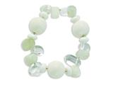 Sterling Silver Coral Jade Moonstone Rock Quartz Stretch Bracelet style: QH4640
