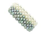 Sterling Silver White Grey 6-7mm Freshater Cultured Potato Pearl Stretch Bracelet style: QH4800