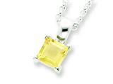 Sterling Silver Citrine Pendant Necklace W/chain - Chain Included style: QH717