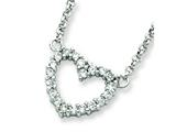 Sterling Silver Cubic Zirconia Heart Pendant Necklace W/chain - Chain Included style: QH764