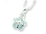 Sterling Silver Blue Topaz Flower Pendant Necklace W/ 16 Chain - Chain Included style: QH807