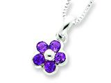 Sterling Silver Amethyst Flower Pendant W/ 16 Chain - Chain Included style: QH809