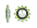 Sterling Silver Peridot and Black Sapphire Earring Jackets style: QJ108AUG