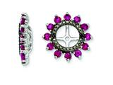 Sterling Silver Created Ruby and Black Sapphire Earring Jackets style: QJ108JUL