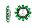 Sterling Silver Created Emerald and Black Sapphire Earring Jackets style: QJ108MAY