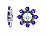 Sterling Silver Amethyst and Black Sapphire Earring Jackets style: QJ114FEB