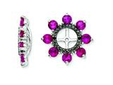 Sterling Silver Created Ruby and Black Sapphire Earring Jackets style: QJ114JUL