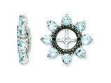 Sterling Silver Aquamarine and Black Sapphire Earring Jackets style: QJ114MAR