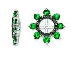 Sterling Silver Created Emerald and Black Sapphire Earring Jackets style: QJ114MAY