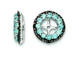 Sterling Silver Swiss Blue Topaz and Black Sapphire Earring Jackets style: QJ125DEC