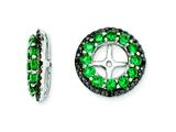 Sterling Silver Created Emerald and Black Sapphire Earring Jackets style: QJ125MAY