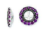 Sterling Silver Rhodolite Garnet and Black Sapphire Earring Jackets style: QJ130JUN