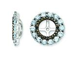 Sterling Silver Aquamarine and Black Sapphire Earring Jackets style: QJ130MAR