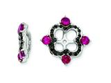 Sterling Silver Created Ruby and Black Sapphire Earring Jackets style: QJ137JUL