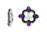 Sterling Silver Rhodolite Garnet and Black Sapphire Earring Jackets style: QJ137JUN