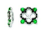 Sterling Silver Created Emerald and Black Sapphire Earring Jackets style: QJ137MAY