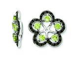 Sterling Silver Peridot and Black Sapphire Earring Jackets style: QJ141AUG