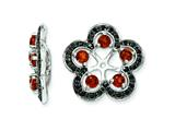 Sterling Silver Garnet and Black Sapphire Earring Jackets style: QJ141JAN