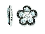 Sterling Silver Aquamarine and Black Sapphire Earring Jackets style: QJ141MAR