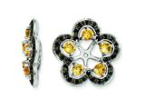 Sterling Silver Citrine and Black Sapphire Earring Jackets style: QJ141NOV