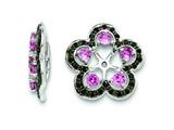 Sterling Silver Created Pink Sapphire and Black Sapphire Earring Jackets style: QJ141OCT