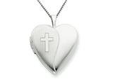 925 Sterling Silver 20mm with Cross Design Heart Locket Necklace - Chain Included style: QLS228