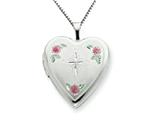 925 Sterling Silver 20mm Enameled with Cross Design Heart Locket Necklace - Chain Included style: QLS229