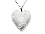 925 Sterling Silver 20mm with AMORE Heart Locket Necklace - Chain Included style: QLS231