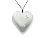 925 Sterling Silver 20mm Diamond Heart Locket Necklace - Chain Included style: QLS239