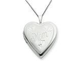 925 Sterling Silver 20mm MOM Heart Locket Necklace - Chain Included style: QLS241