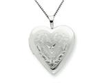 925 Sterling Silver 20mm Heart and Flowers Diamond Heart Locket Necklace - Chain Included style: QLS243