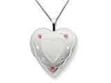 925 Sterling Silver 20mm Enameled Roses Heart Locket Necklace - Chain Included style: QLS249