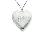 925 Sterling Silver 20mm Mom with Diamond Heart Locket Necklace - Chain Included style: QLS250