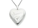 925 Sterling Silver 20mm Grandma with Diamond Heart Locket - Chain Included style: QLS252
