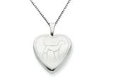 925 Sterling Silver 16mm Dog Heart Locket Necklace - Chain Included style: QLS258