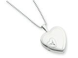 925 Sterling Silver 16mm Heart with Diamond Heart Locket Necklace - Chain Included style: QLS260