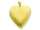 1/20 Gold Filled 20mm Fleur de lis Heart Locket - Chain Included style: QLS283