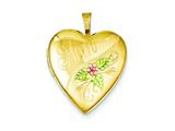 1/20 Gold Filled 20mm Enameled Mom Heart Locket Necklace - Chain Included style: QLS286