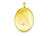 1/20 Gold Filled 20mm Diamond Satin and Polished Oval Locket Necklace - Chain Included style: QLS301