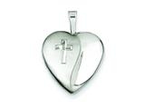 Sterling Silver and Diamond 16mm D/c Cross Heart Locket Necklace style: QLS380