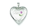 Sterling Silver 20mm D/c and Enameled Mom Heart Locket Necklace style: QLS407