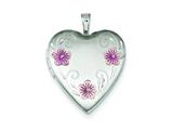 Sterling Silver 20mm Satin, D/c and Enameled Flower Heart Locket Necklace style: QLS413