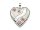 Finejewelers Sterling Silver 20mm Pink Enamel Flower Heart Locket Pendant Necklace 18 inch chain included style: QLS784