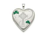 Finejewelers Sterling Silver 20mm Green Enamel Clover/cross Heart Locket Pendant Necklace 18 inch chain included style: QLS795