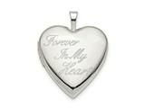 Finejewelers Sterling Silver 20mm Forever In My Heart Heart Locket Pendant Necklace 18 inch chain included style: QLS805