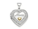 Finejewelers Sterling Silver Rhodium-plate Gold-tone Preciosa Crystal Mom Locket Pendant Necklace 18 inch chain included style: QLS812