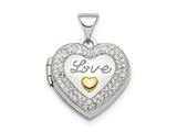 Finejewelers Sterling Silver Rhodium-plate Gold-tone Preciosa Crystal Love Locket Pendant Necklace 18 inch chain include style: QLS813