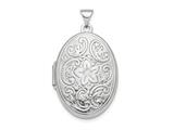 Finejewelers Sterling Silver Rhodium-plated Polished 26mm Patterned Oval Locket Pendant Necklace 18 inch chain included style: QLS860