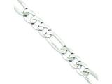 18 Inch Sterling Silver 9.5mm Polished Flat Figaro Chain style: QMB250